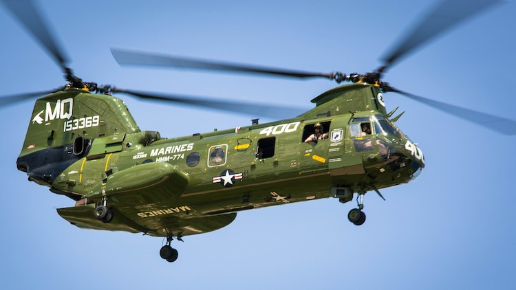 The CH-46 begins its landing during the CH-46 Retirement Ceremony at the Smithsonian Institution National Air and Space Museum's Steven Udvar-Hazy Center in Chantilly, Virginia Aug. 1, 2015. The ceremony was conducted by Marines from Medium Helicopter Squadron 774 4th Marine Aircraft Wing, Marine Corps Forces Reserve, and Marines from Marine Helicopter Squadron One from Marine Corps base Quantico, Virginia.