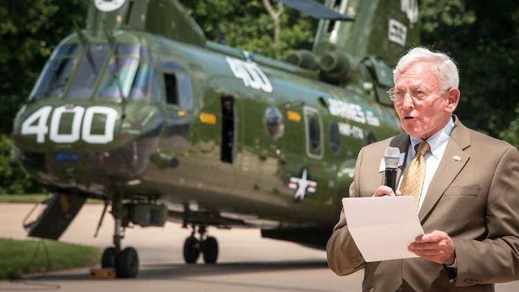 Gen. J.R. Dailey (Ret.) speaks on behalf of the Smithsonian Institution National Air and Space Museum during the CH-46 Retirement Ceremony at the Smithsonian Institution National Air and Space Museum's Steven F. Udvar-Hazy Center I Chantilly, Virginia Aug. 1, 2015. The Ch-46's main mission was to provide combat support for the Marines on the ground.