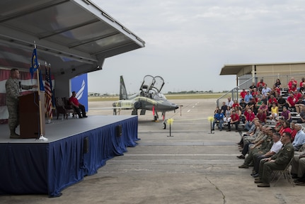 Brig. Gen. Carl Buhler, Ogden Air Logistics Complex commander, Hill Air Force Base, Utah, speaks during the unveiling of the first T-38 from the Pacer Classic III program July 31, 2015, at Joint Base San Antonio-Randolph. Pacer Classic III represents the largest single structural modification ever undertaken on the T-38 aircraft and will extend the service life of the modified aircraft by 15-20 years.