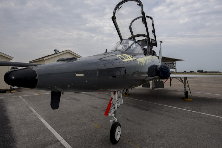The first completed T-38 Talon from the PACER Classic III structural-modification program is unveiled July 31, 2015, at Joint Base San Antonio-Randolph, Texas. Pacer Classic III (PC III) represents the largest single structural modification ever undertaken on the T-38 aircraft and will extend the service life of the modified aircraft by 15-20 years. (U.S. Air Force photo by Airman 1st Class Stormy Archer)