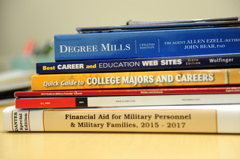 An array of resources with information on scholarships and other educational information are available to service members and their families at Whiteman Air Force Base, Mo. With hundreds of scholarships and grants available, dependents can speak to counselors at the Airman and Family Readiness Center or the Professional Development Center on how to go to school at little to no cost to themselves. (U.S. Air Force photo by Airman 1st Class Jazmin Smith/Released)