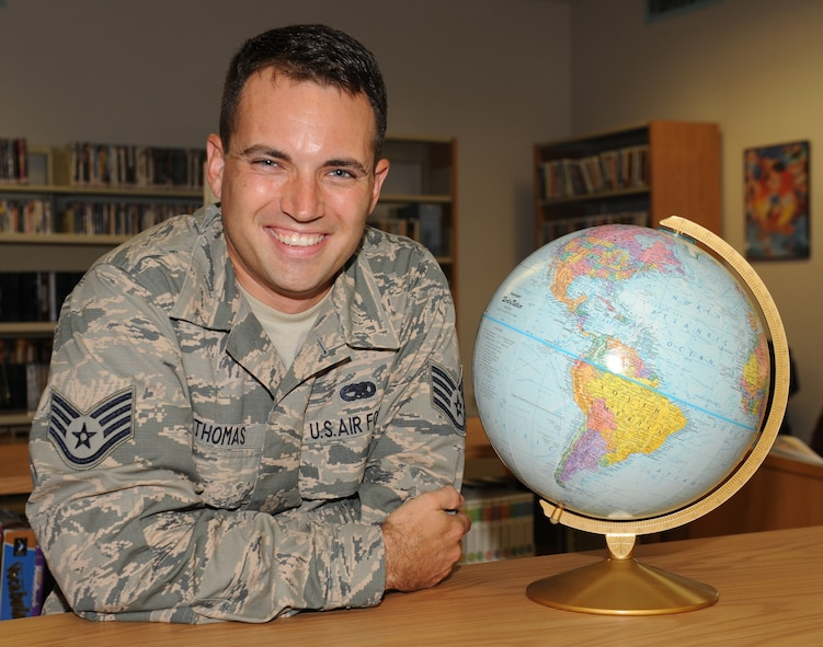 Staff Sgt. James J. Thomas, 9th Aircraft Maintenance Squadron unit security manager, poses for a photo at Beale Air Force Base, California, Aug. 3, 2015. (U.S. Air Force photo by Airman 1st Class Jessica B. Nelson)