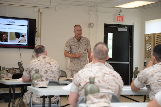 "Brig. Gen. Patrick J. Hermesmann, 4th Marine Logistics Group, New Orleans, Louisiana, addresses corporals attending the two-week Corporal's Course at Marine Corps Logistics Base Albany, recently. The training was conducted as part of the noncommissioned officers' Professional Military Education on leadership. Hermesmann encouraged the corporals to include ""four ships"" as they journey through their time in the Corps: ""leadership, mentorship, partnership and friendship."""