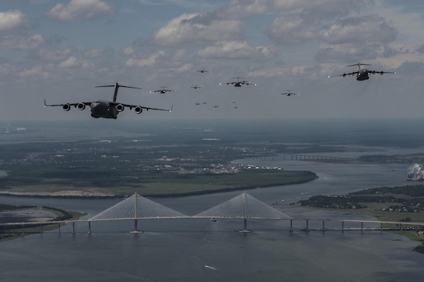 Post 45 is flying forward, just like these C-17s flying from Joint Base Charleston over the federal channel in Charleston Harbor.