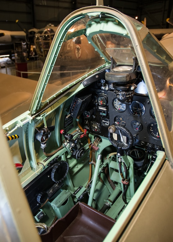 DAYTON, Ohio -- Supermarine Spitfire Mk.Vc cockpit in the World War II Gallery at the National Museum of the United States Air Force. (U.S. Air Force photo)