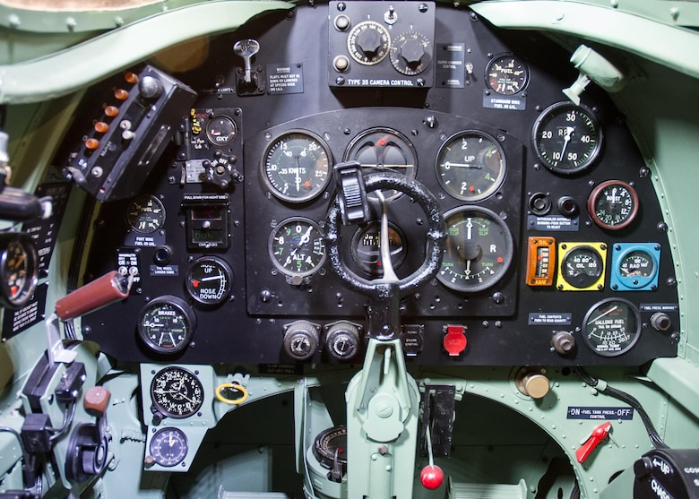 DAYTON, Ohio -- Supermarine Spitfire Mk XI cockpit in the World War II Gallery at the National Museum of the United States Air Force. (U.S. Air Force photo)