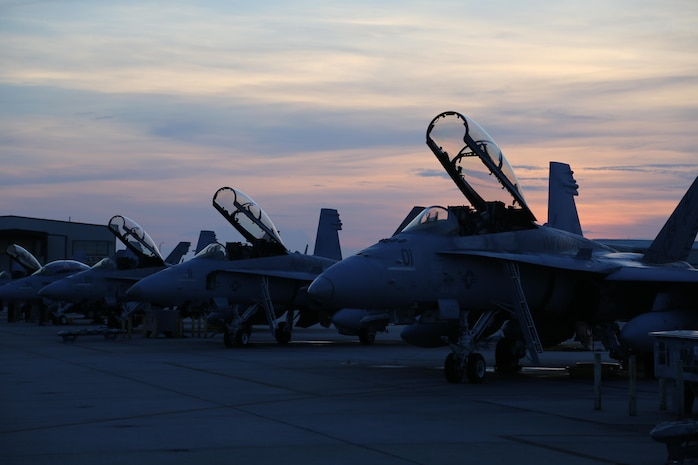 F/A-18D Hornets are staged before kicking off joint training exercise Palmetto Fire aboard Marine Corps Air Station Beaufort, July 27- Aug. 7. The squadron, along with Navy and Air Force reinforcements, will train to execute indirect fire exercises utilizing aircraft. The jets are with Marine-All Weather Fighter Attack Squadron 224,Marine Aircraft Group 31. (U.S. Marine Corps photo by Lance Cpl. Samantha K. Torres/released)