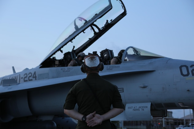 A Marine stands at parade rest for the pilot and weapons system officer of an F/A-18D Hornet aboard Marine Corps Air Station Beaufort July 30. The pilot is executing a systems check before he takes the jet to the skies. The Marines and aircraft are with Marine All-Weather Fighter Attack Squadron 224, Marine Aircraft Group 31. (U.S. Marine Corps photo by Lance Cpl. Samantha K. Torres/released)