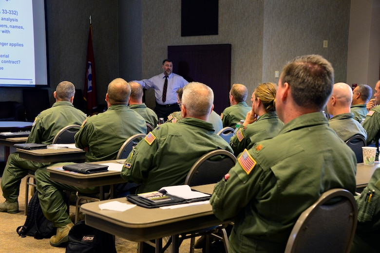 MCGHEE TYSON AIR NATIONAL GUARD BASE, Tenn. - Air National Guard and Air Force Reserve Command officers and safety experts attend a lesson at the I.G. Brown Training and Education Center's campus here August 4, 2015, during the four-day Air Reserve Component Chief of Safety Course. (U.S. Air National Guard photo by Master Sgt. Mike R. Smith/Released)