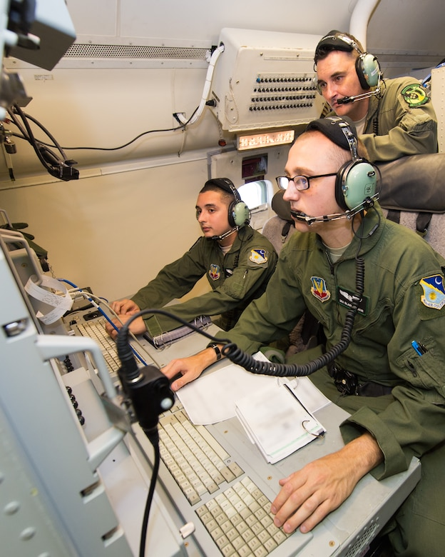 U.S. Airmen with the 12th Airborne Command and Control Squadron, perform pre-flight ops checks on an E-8C Joint STARS in preparation for a mission during the Northern Strike 2015 combat exercise, Robins Air Force Base, Ga., July 29, 2015. Team JSTARS joined military forces from more than 20 states and four coalition countries for the exercise hosted by the Michigan National Guard. Working with a liaison officer from the 116th Air Control Wing (ACW), Georgia Air National Guard, deployed to the exercise headquarters in Michigan, aircrews flying out of Robins Air Force Base from the 461st ACW and the Army JSTARS provided real-time tracking information to air and ground forces helping them to find and identify enemy forces played by exercise participants. (U.S. Air National Guard photo by Senior Master Sgt. Roger Parsons/Released) (Portions of the photo have been blurred for security purposes)