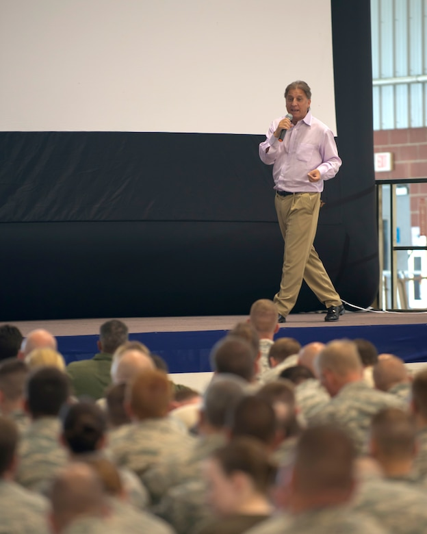 Simon Weinberg, co-owner of Big Voice pictures, speaks at the 167th Airlift Wing in Martinsburg, W.Va., Aug 1. Mr. Weinberg is a motivational speaker and co-producer of the film Boys and Men healing, which was presented to the airmen at the 167th, and addresses the issue of male victimization. Mr. Weinberg presented his film and spoke to the airmen as part of their Sexual Assault Prevention and Response training. (Air National Guard photo by Tech. Sgt. Michael Dickson/released)