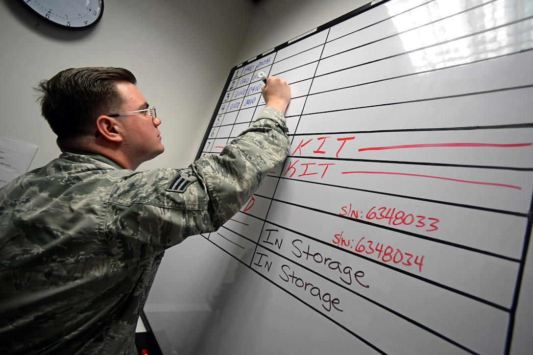 U.S. Air Force Senior Airman Brett Leary, 100th Operations Support Squadron combat communications technician from Hohenwald, Tenn., updates the kit board July 23, 2015, on RAF Mildenhall, England. The 100th OSS combat crew communications shop ensure aircrew Airmen are able to securely communicate during their everyday flying missions. (U.S. Air Force photo by Senior Airman Christine Halan/Released)