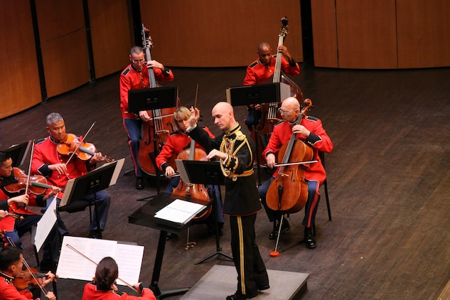 On July 19, 2014, the Marine Chamber Orchestra performed at the Rachel M. Schlesinger Concert Hall at the Northern Virginia Community College in Alexandria. The program included Wolfgang Amadeus Mozart's Adagio and Fugue in C minor, K. 546; Dmitri Shostakovich's Chamber Symphony, Opus 110a; Jean Sibelius's Impromptu for String Orchestra; and Mieczyslaw Karlowicz's Serenade for String Orchestra, Opus 2. (U.S. Marine Corps photo by Master Sgt. Kristin duBois/released)