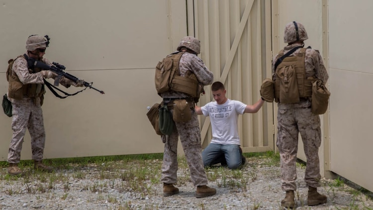 Three Marine with Bravo Company, 2nd Law Enforcement Battalion, II Marine Expeditionary Force Headquarters Group, apprehend an intruder during a week-long exercise at GSRA FOB aboard Camp Lejeune, North Carolina, August 5, 2015. During the exercise, the Marines were put into situations in which they would have to control various scenarios and eliminate threats to valuable assets.