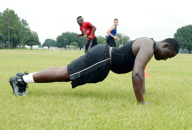 Members of the Sherwood Christian Academy, Albany, Ga., football team participate in  High Intensity Tactical Training at Marine Corps Logistics Base Albany during a weeklong football camp, recently.