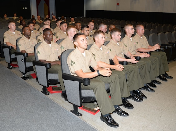 Marines taking the two-week Corporal's Course at Marine Corps Logistics Base Albany achieve rewards for reaching another milestone in their military careers. Twenty noncommissioned officers graduated in a ceremony held at the Base Theater, here, culminating the completion of the Professional Military Education course on leadership.