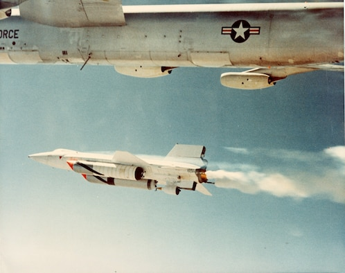North American X-15A-2 dropped by a NASA Boeing NB-52 mothership.(U.S. Air Force photo)