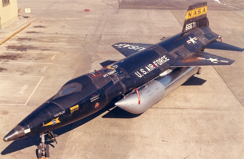 North American X-15A-2 shown with two external fuel tanks. (U.S. Air Force photo)