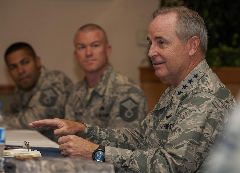 Air Force Chief of Staff Gen. Mark A. Welsh III talks with Airmen during a visit to Minot Air Force Base, N.D., Aug. 5, 2015. While visiting the base, Welsh met with 5th Bomb Wing and 91st Missile Wing maintainers, members of security force units and senior staff in an effort to gain perspective on the current status of the nuclear enterprise. (U.S. Air Force photo/Senior Airman Stephanie Morris)