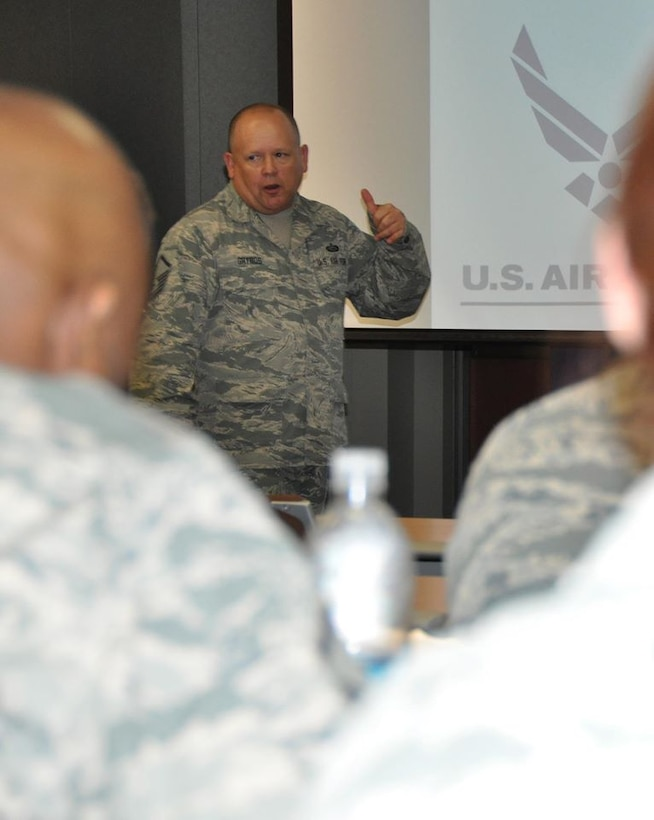 Master Sgt. Richard Grybos, Air Reserve Personnel Center NCO in charge of Air National Guard separations, briefs Air Reserve Component Field Orientation attendees Aug. 6, 2015, at the ARPC headquarters building on Buckley Air Force Base, Colo. (U.S. Air Force photo/Tech. Sgt. Rob Hazelett)