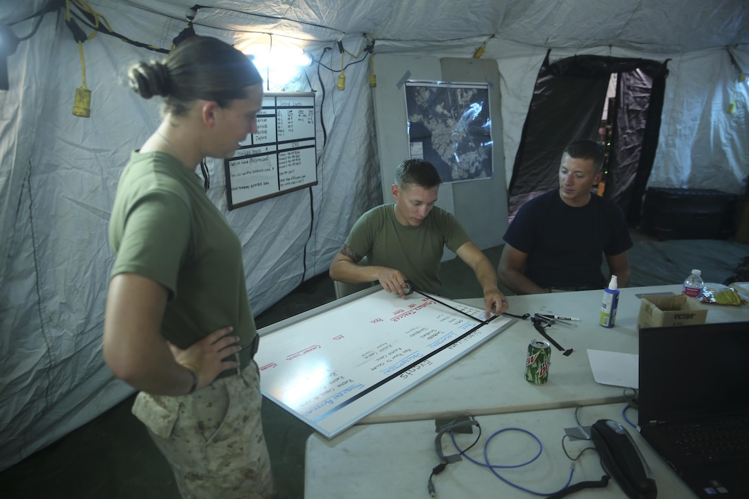 Service members with Communications Company, Combat Logistics Battalion 2 organize the significant events they expect to encounter during a preparatory command post exercise aboard Camp Lejeune, N.C., August 4, 2015. Marines with the company worked together to maintain a network by establishing a means of communication while preparing for an upcoming CPX. (U.S. Marine Corps photo by Lance Cpl. Aaron Fiala/Released)