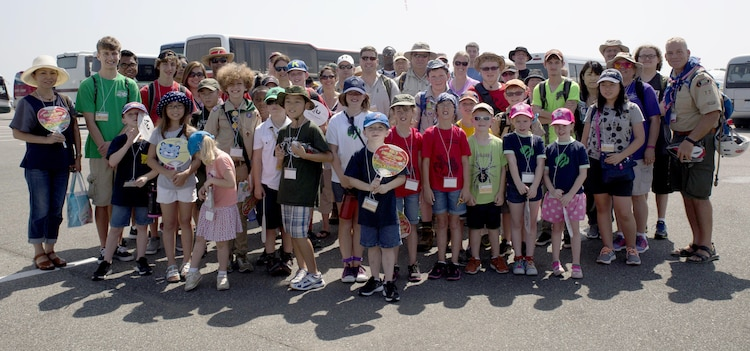 Scouts with Scout Troop 77 and residents from Marine Corps Air Station Iwakuni, Japan, gather together before exploring the 23rd World Scout Jamboree in Kirara-hama, Yamaguchi, Japan, August 1, 2015. This year's jamboree included 34,000 scout participants from 150 countries. This was the first international event for local Scout Troop 77.