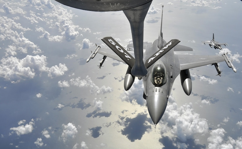 An F-16 Fighting Falcon assigned to the 93rd Fighter Squadron, Homestead Air Reserve Base, Fla., prepares to be refueled over the Gulf of Mexico by a KC-135 Stratotanker assigned to the 507th Air Refueling Wing from Tinker Air Force Base, Okla., as part of an Employer Support of the Guard and Reserve Bosslift event hosted by the 482nd Fighter Wing at Homestead ARB July 2015. (U.S. Air Force photo/Maj.