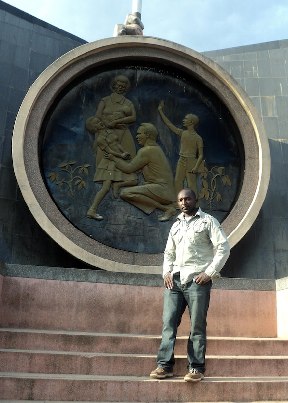 Staff Sgt. Johnson Njenga, a Kenya native, stands in front of the Nyayo-era Monument in Central Park in Nairobi, Kenya, during a past visit home. Njenga is the 21st Medical Squadron Family Health NCO in charge at Schriever Air Force Base, Colo. (Courtesy photo)