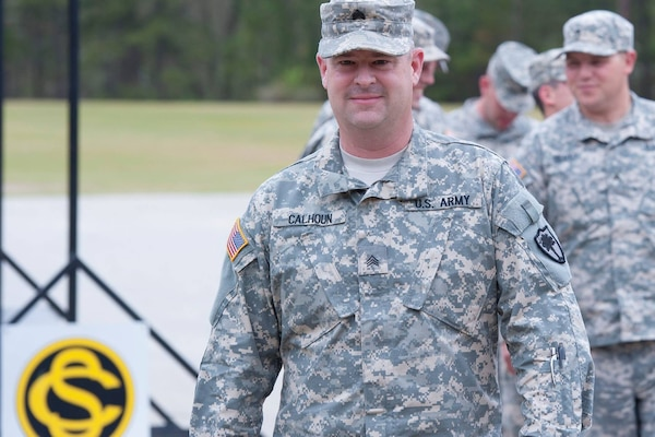 U.S. Army Sgt. Brian Calhoun attends a South Carolina Army National Guard Warrior Leadership Course at McCrady Training Center in Eastover, South Carolina., April 7, 2015.