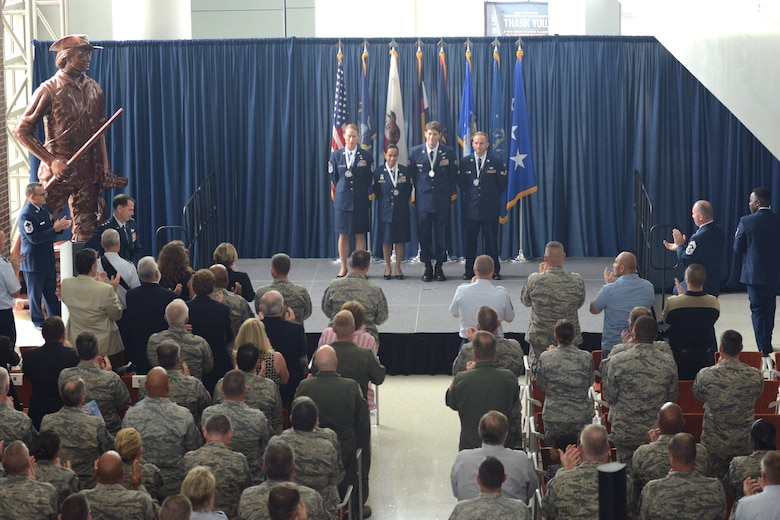 The Air National Guard's 2015 Outstanding Airmen of the Year are recognized during a director's all call at the Air National Guard Readiness Center on Joint Base Andrews, Md., August 6, 2015. The all call was part of Focus on the Force Week, a series of events highlighting the importance of professional development and recognizing the accomplishments of the enlisted force. (U.S. Air National Guard photo by Staff Sgt. John E. Hillier/released)