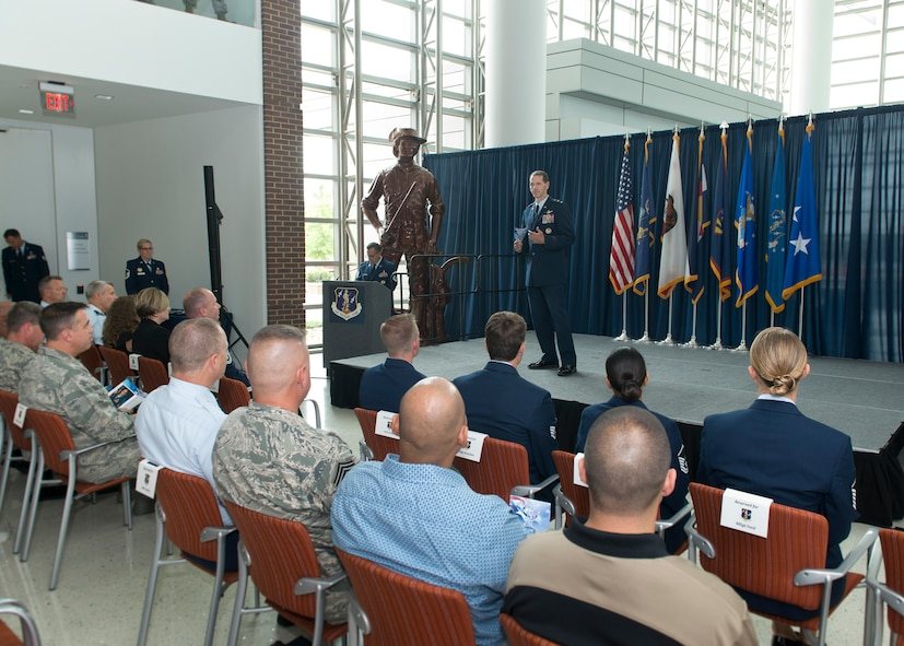 Lieutenant Gen. Stanley E. Clarke III, director of the Air National Guard, addresses attendees during an All Call event Aug. 6, 2015 at Joint Base Andrews, Maryland. The purpose of the All Call is to recognize the ANG's Outstanding Airmen of the Year and signifies the end to Focus on the Force, which gathers senior enlisted leaders to openly discuss concerns, receive feedback from enlisted Airmen, and tell the exceptional stories of ANG Airmen throughout the 50 states, territories, and the District of Columbia. (Air National Guard photo by Master Sergeant Marvin. R. Preston, Released)