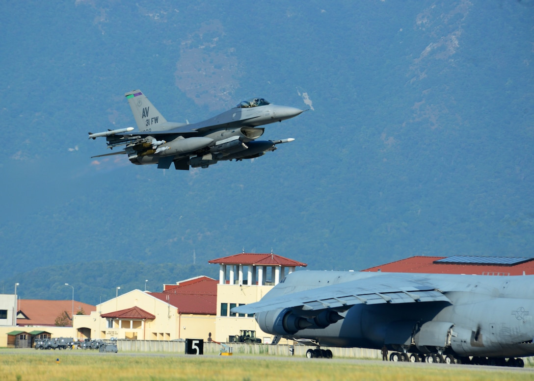Six F-16 Fighting Falcons from the 31st Fighter Wing accompany approximately 300 personnel and cargo deployed from Aviano Air Base, Italy, to Incirlik Air Base, Turkey, in support of Operation Inherent Resolve Aug. 9, 2015. This deployment coincides with Turkey's decision to host U.S. aircraft to conduct counter-ISIL operations. (U.S. Air Force photo by Airman 1st Class Deana Heitzman)