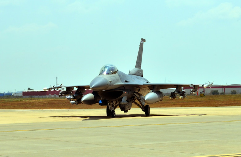 The U.S. Air Force deployed six F-16 Fighting Falcons from Aviano Air Base, Italy, support equipment and approximately 300 personnel to Incirlik Air Base, Turkey in support of Operation Inherent Resolve Aug. 9, 2015. This follows Turkey's decision to host the deployment of U.S. aircraft conducting counter-ISIL operations. The U.S. and Turkey, as members of the 60-plus nation coalition, are committed to the fight against ISIL in pursuit of peace and stability in the region. (U.S. Air Force photo Senior Airman Michael Battles/Released)