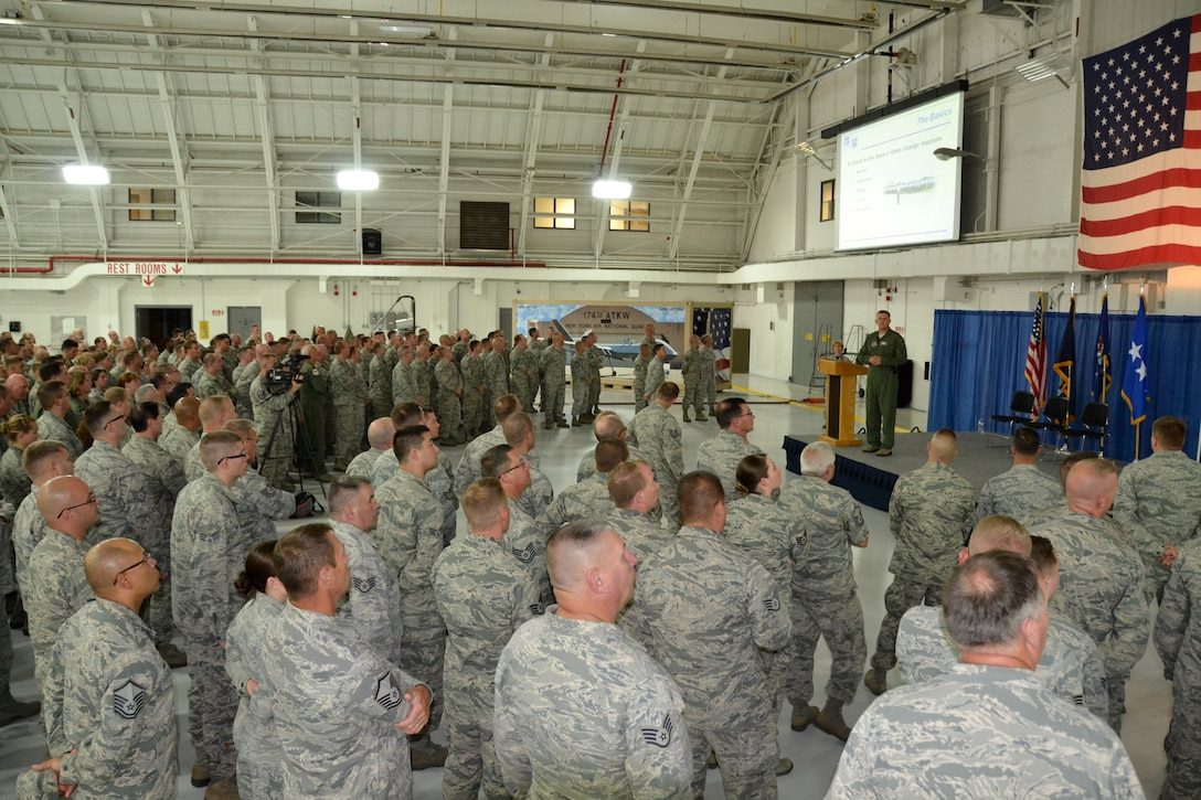 Gen. Frank Gorenc, U.S. Air Forces in Europe-Air Forces Africa commander, talks to airmen at the 174th Attack Wing during an All-Call at Hancock Field, August 8. Gorenc shared his thoughts with airmen on the Air Force values of commitment and excellence. (New York Air National Guard photo by Maj. Sandra Stoquert/Released)