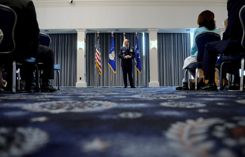 Gen. David L. Goldfein makes his remarks during his promotion ceremony Aug. 6, 2015, in Washington, D.C. Goldfein will become the Air Force's 38th vice chief of staff and most recently served as the director of the Joint Staff. (U.S. Air Force photo/Scott M. Ash)