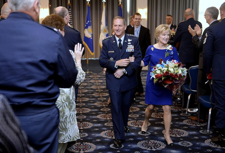 Gen. David L. Goldfein and his wife, Dawn, depart the revue where he was promoted during a ceremony Aug. 6, 2015, in Washington, D.C. Goldfein will become the Air Force's 38th vice chief of staff and most recently served as the director of the Joint Staff. (U.S. Air Force photo/Scott M. Ash)
