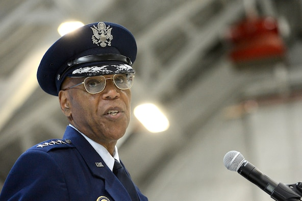 Air Force Vice Chief of Staff Gen. Larry O. Spencer speaks to attendees during his retirement ceremony at Joint Base Andrews, Md., Aug. 7, 2015. Spencer enlisted into the Air Force in 1971 and was commissioned as a second lieutenant Feb. 14, 1980. (U.S. Air Force photo/Scott M. Ash)