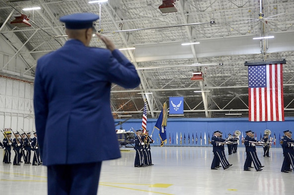 Air Force Vice Chief of Staff Gen. Larry O. Spencer salutes during a pass in review procession at his retirement ceremony at Joint Base Andrews, Md., Aug. 7, 2015. Spencer enlisted into the Air Force in 1971 and was commissioned as a second lieutenant Feb. 14, 1980. (U.S. Air Force photo/Scott M. Ash)