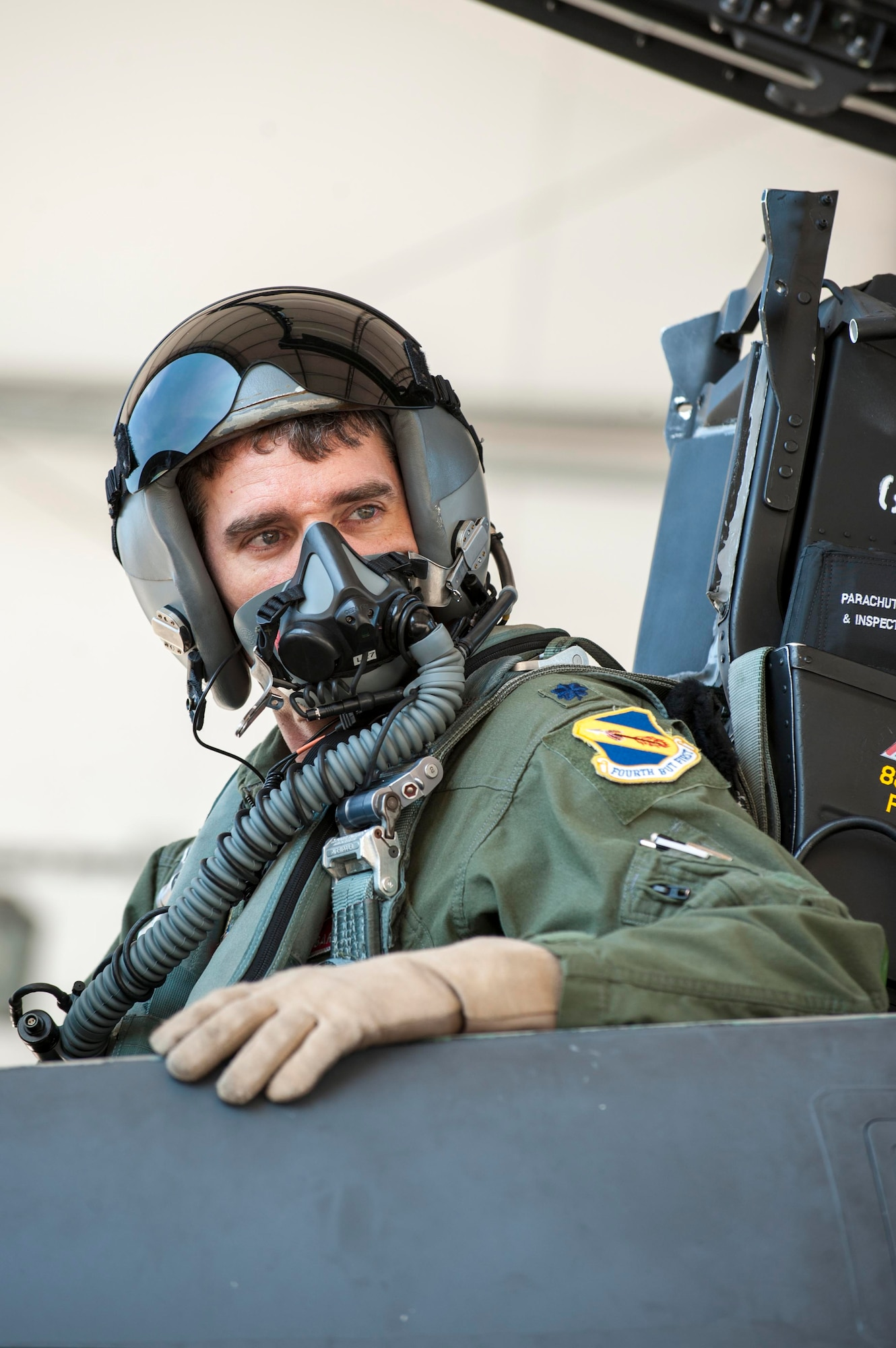 Lt. Col. Paul Hibbard, a 333rd Fighter Squadron instructor pilot, performs preflight checks before a training sortie, July 22, 2015, at Seymour Johnson Air Force Base, N.C. The training flight marked Hibbard's 3,000th flying hour in the F-15E Strike Eagle, which he has been flying for more than two decades. (U.S. Air Force photo/Airman Shawna L. Keyes)