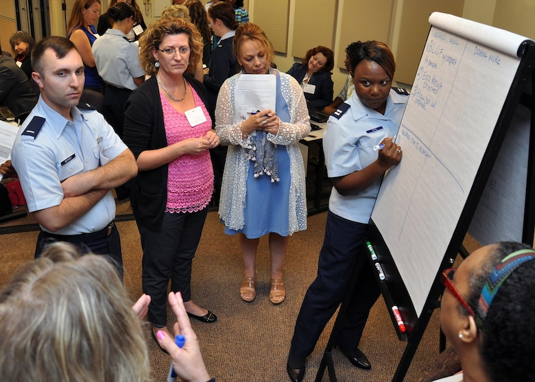 Air Force sexual assault response coordinators brainstorm ideas on improving communication with leadership at all levels Aug. 5, 2015, at the National Conference Center in Leesburg, Va. Nearly 130 SARCs from across the Air Force attended the training, which included lessons on prevention, policy, training and leadership interaction. (U.S. Air Force photo/Tech. Sgt. Bryan Franks)