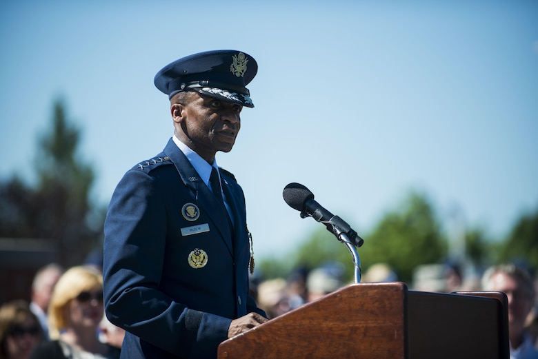 Gen. Darren W. McDew speaks during the Air Mobility Command change of command ceremony at Scott Air Force Base, Ill., Aug. 11, 2015. Gen. Carlton D. Everhart II assumed command of AMC from McDew, who will remain at Scott AFB as the new commander of U.S. Transportation Command. Chief of Staff of the Air Force Gen. Mark A. Welsh III officiated at the ceremony. (U.S. Air Force photo/Staff Sgt. Clayton Lenhardt)