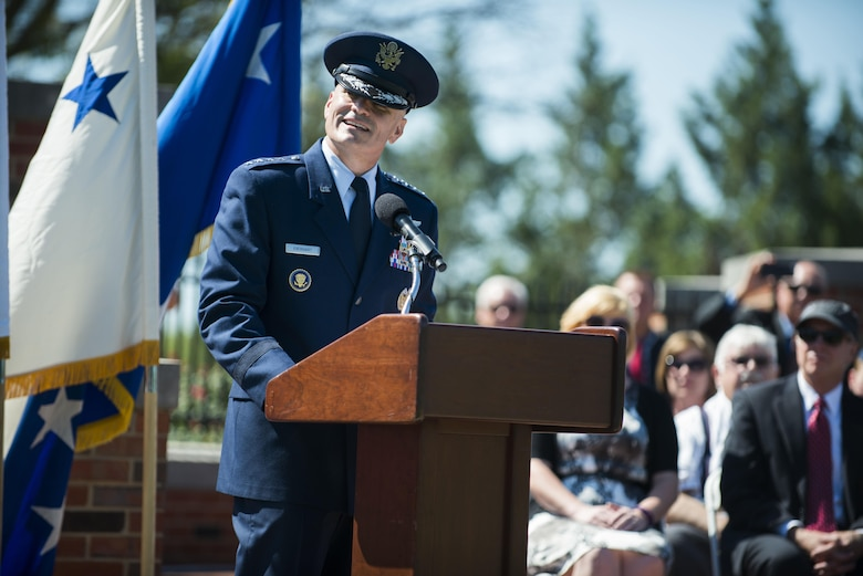 Gen. Carlton D. Everhart II, the Air Mobility Command commander, speaks during the AMC change of command ceremony at Scott Air Force Base, Ill., Aug. 11, 2015. Chief of Staff of the Air Force Gen. Mark A. Welsh III officiated at the ceremony where Everhart assumed command from Gen. Darren W. McDew. (U.S. Air Force photo/ Staff Sgt. Clayton Lenhardt)