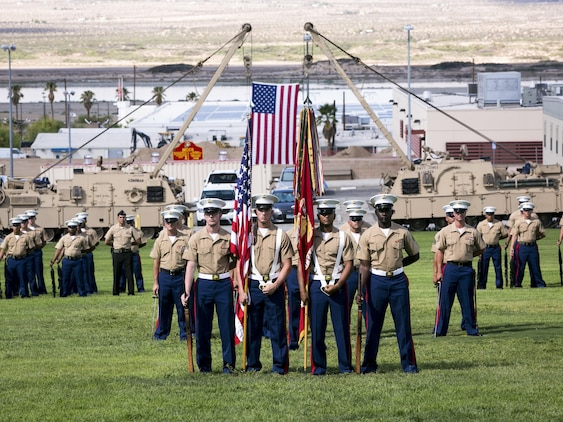 Marines with 1st Tank Battalion stand in formation during a retirement ceremony for 1st Sgt. Nelson A. Hidalgo, Company A First Sergeant, 1st Tanks, at Lance Cpl. Torrey L. Gray Field, Aug. 7, 2015. Hidalgo left the Marines of 1st Tanks with one last piece of advice, reminding them to find time to enjoy their work. (Official Marine Corps photo by Pfc. Levi Schultz/Released)