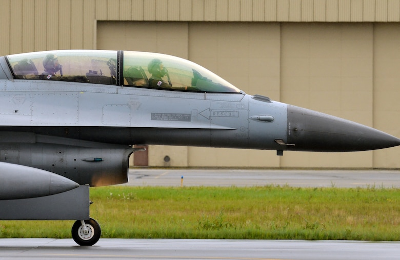 A Republic of Korea Air Force (ROKAF) F-16D taxis down the Eielson Air Force Base, Alaska, flightline Aug. 10, 2015 as part of the first simulated combat sortie of RED FLAG-Alaska 15-3. The ROKAF is participating in this Pacific Air Forces commander-directed field training exercise for U.S. and partner nation forces, providing combined offensive counter-air, interdiction, close air support, and large force employment training in a simulated combat environment. (U.S. Air Force photo by Airman 1st Class Kyle Johnson/Released)