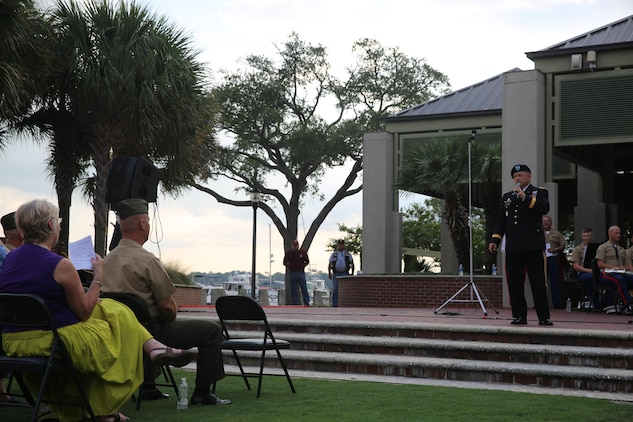 Retired Army Major General Robert Livingston Jr. speaks at a Vietnam Veterans Tribute, Aug. 8, at Waterfront Park in downtown Beaufort. The ceremony featured performances from the Parris Island Marine Corps Band as well as local performers from the Beaufort area.