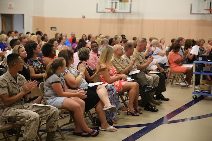 Schools aboard Laurel Bay family housing held an opening ceremony for the new school year at Middleton S. Elliott Elementary School, Aug. 10. Teachers from Charles F. Bolden Elementary/Middle School, Robert E. Galer Elementary School, and Middleton S. Elliott Elementary School were all present at the event. (U.S. Marine Corps photo by Lance Cpl. Jonah Lovy/Released)