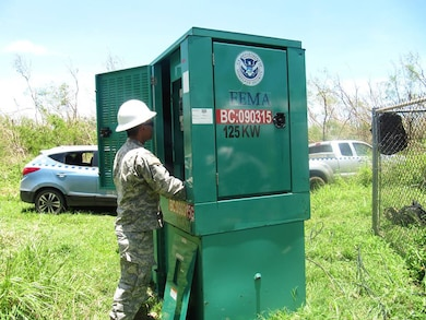 A Soldier from the U.S. Army's 249th Engineer Battalion, U.S. Army Corps of Engineers, installs a generator to power water pumps in Saipan as part of the federal response to Typhoon Soudelor. The 249th Engineer Battalion, contractors, and commonwealth and local entities are assessing, installing, and maintaining emergency generators at critical facilities, especially at wells to ensure that residents of Saipan get a much needed supply of drinking water. The 249th , along with a Power Planning Response Team from the Corps' Honolulu District, is on the ground now, making a huge difference, and includes specialists for contracting, liaisons, mission management, data management, logistics, and quality assurance. One Team – Building Strong®!