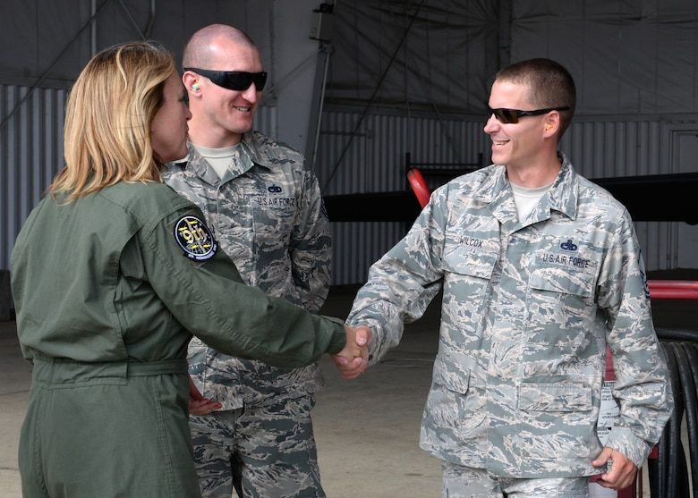 Secretary of the Air Force Deborah Lee James (left) greets Master Sgt. Jon Wilcox, 9th Aircraft Maintenance Squadron U-2 crew chief, Aug. 10, 2015, at Beale Air Force Base California. James received familiarization training on the U-2 Dragon lady before flying in the aircraft. James visited Beale to receive a first-hand perspective of high-altitude intelligence, surveillance and reconnaissance from collection to dissemination. (U.S. Air Force photo by Airman 1st Class Ramon A. Adelan)