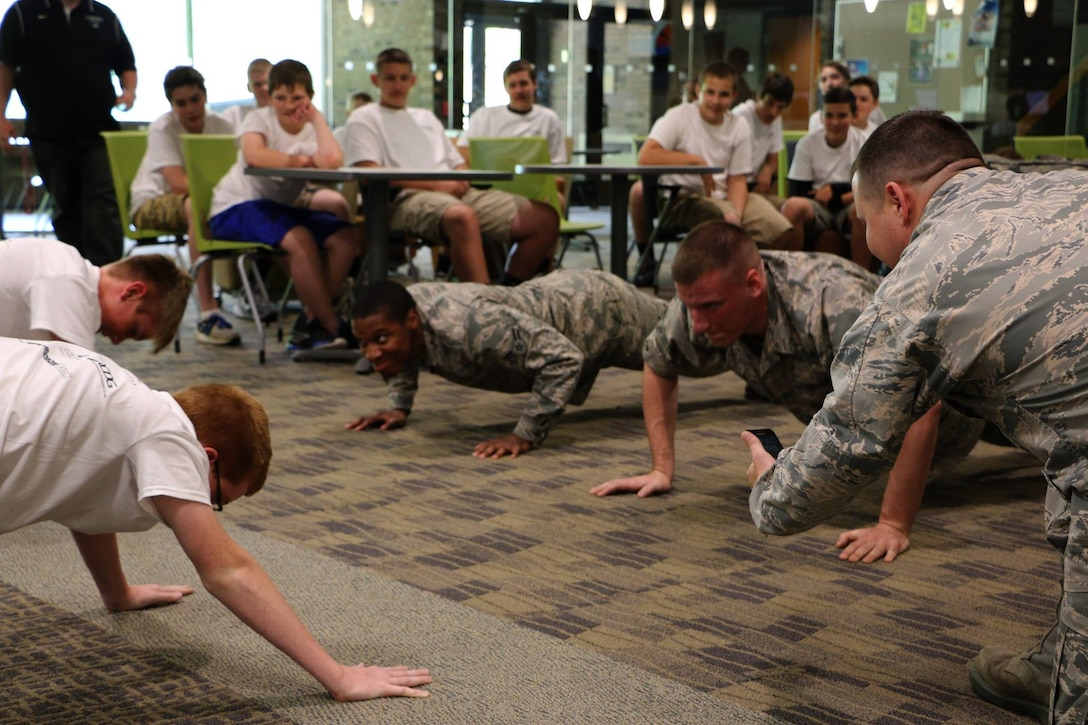 Members of the 179th Airlift Wing participate in a program called Leader Richland at North Central State College in Mansfield, Ohio, May 19, 2015. The Richland Community Development Group's program aims to inspire 7th and 8th graders to reach their full potential as future community leaders.  (U.S. Air National Guard photo by Tech. Sgt. Joe Harwood\Released)