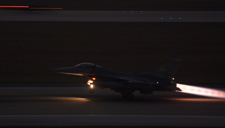 An F-16 Fighting Falcon takes off from Incirlik Air Base, Turkey in support of Operation Inherent Resolve Aug. 12, 2015. This follows Turkey's decision to host the deployment of U.S. aircraft conducting counter-ISIL operations. The U.S. and Turkey, as members of the 60-plus nation coalition, are committed to the fight against ISIL in pursuit of peace and stability in the region. (U.S. Air Force photo by Senior Airman Krystal Ardrey /Released)